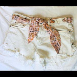 Free People Shorts - Free People White denim distressed shorts 29